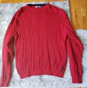 Mens red CHAPS Ralph Lauren ribbed sweater size L